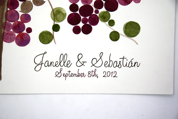 Custom Signature Wedding Guest Book Alternative Rustic Vine Tree - 150 guest signatures Personalized wedding guestbook love birds