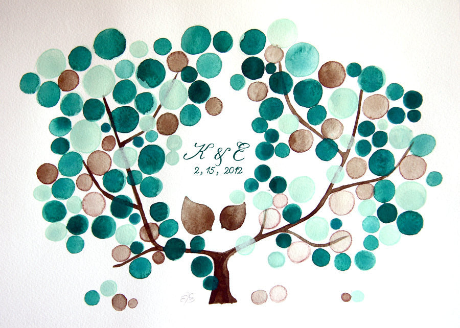 Rustic Wedding Guest Book Alternative - 175 guest signatures Customizable Signature wedding guest book tree, Our wedding Tree with two Birds
