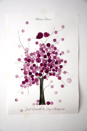 Signature Wedding Guest Book Tree Alternative - 225 guest signatures Large Custom Wedding guestbook, Event Tree Guest book, love birds