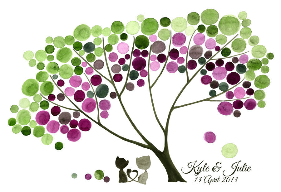 Wedding Gift & FAVORS - custom names GIFT TREE print, wall decor, Baby shower, Anniversary gift, Special Day, Birthday, Cats heart tails