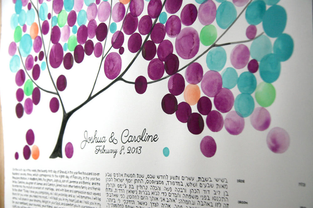 Custom Ketubah painting - THE PAINTED TREE - Ketubah Calligraphy and watercolor painting