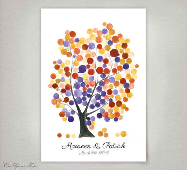 Wedding Guest Book Tree print - 150 Guest Signatures