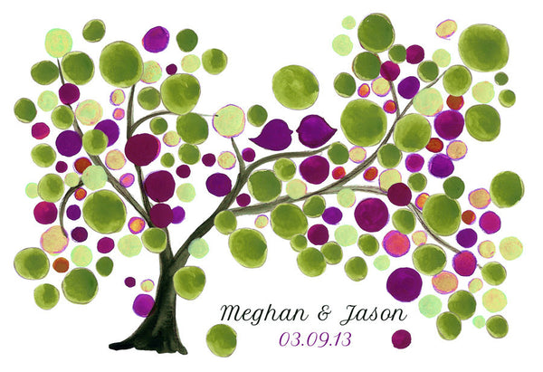 Wedding GuestBook rustic tree - 150 Guest Signatures - Custom Guest book alternative,  wedding tree, Guest Signature Tree Print