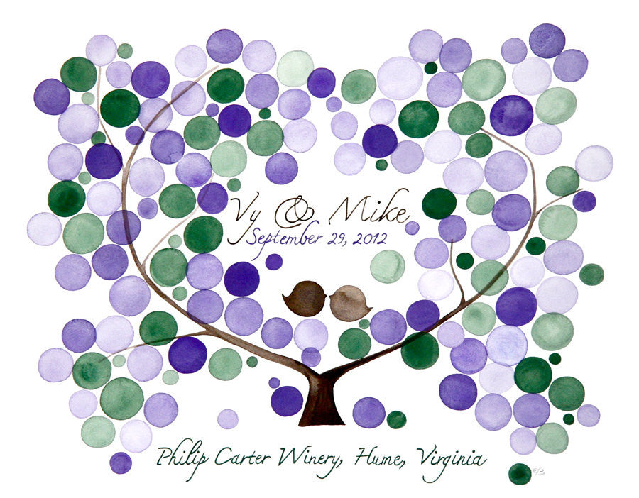 Wedding Guest Book Alternative AMERICAN PLUM TREE Rustic - 125 Guest Signatures - Guest book unique wedding tree, Wish Tree Art Print