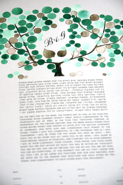Personalized Ketubah Green Mint Tree