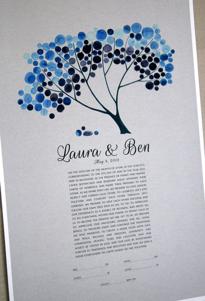 Personalized Unique Ketubah Gray Kraft Tree of Life and Love Birds Blue Safari Tree