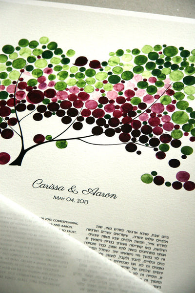 Modern Ketubah Tree of Life and Love Birds, personalized Ketubah, abstract Tree of Life and Love Birds