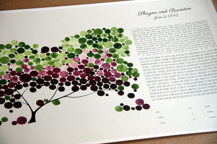 Modern Ketubah Tree of Life and Love Birds On the Side Layout