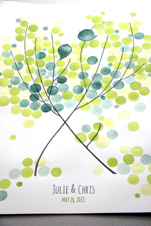 Green Wedding Guest Book Alternative - 175 guest signatures Customizable Signature wedding guest book tree,  Our wedding Tree with two Birds