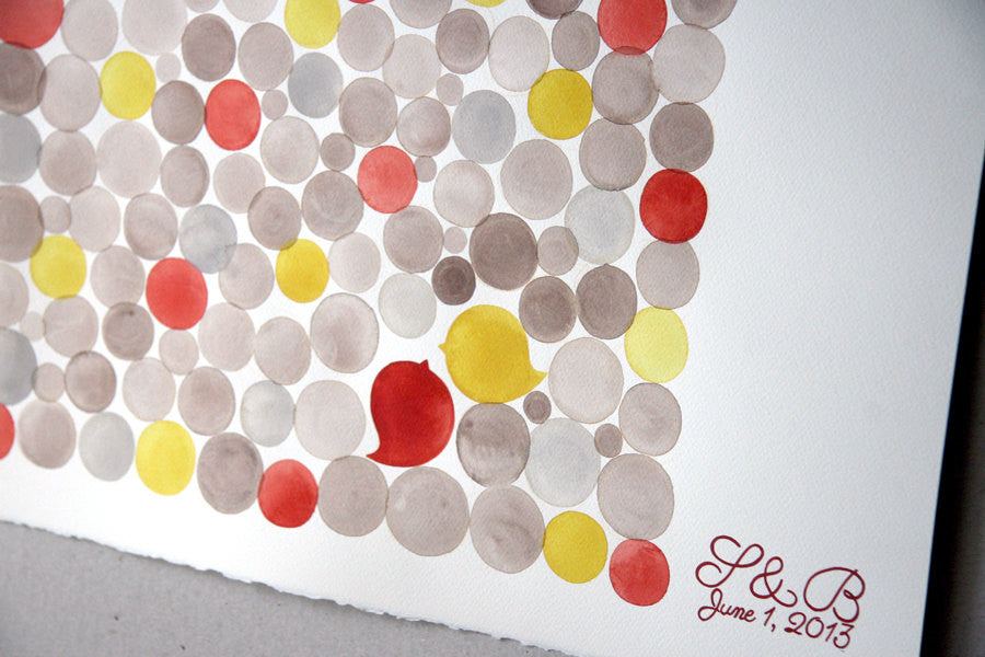 Wedding Signature Guest Book Alternative, Circles - 125 guest signatures Guest book alternative, wedding penny tiles, watercolor