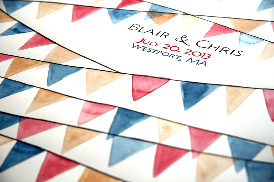 Pennant Banner Wedding Guest Book Alternative - 175 guest signatures Custom Signature wedding guest book, crisscrossing pennant triangles