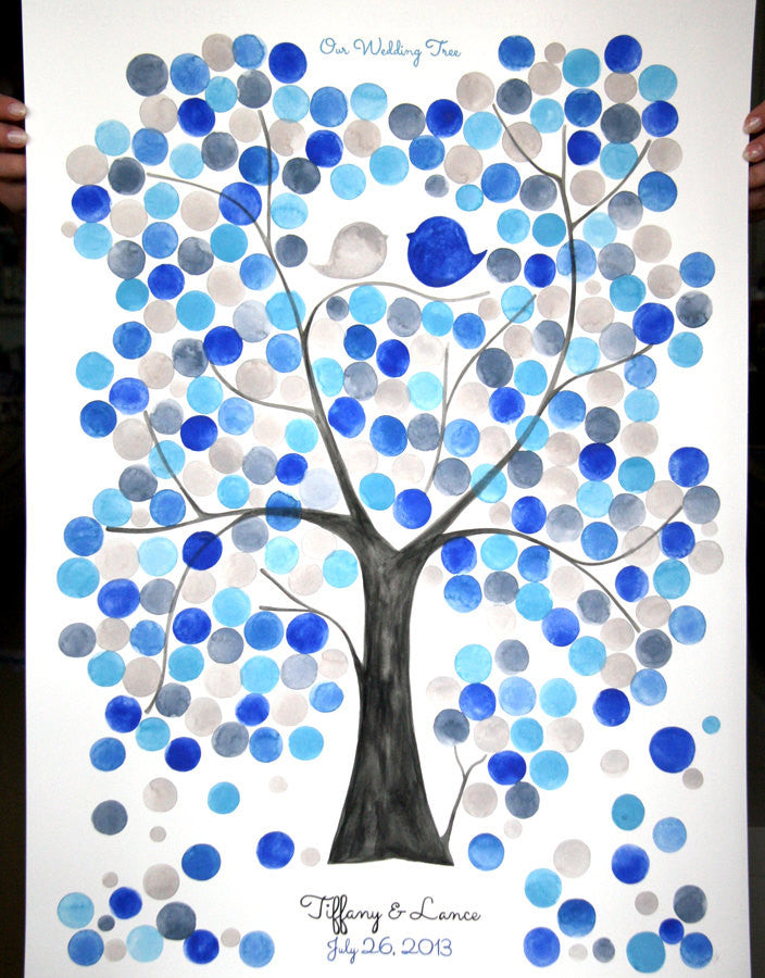 Custom Anniversary Guest Book - Wedding guestbook, Event Tree, love birds, abstract, tree of life