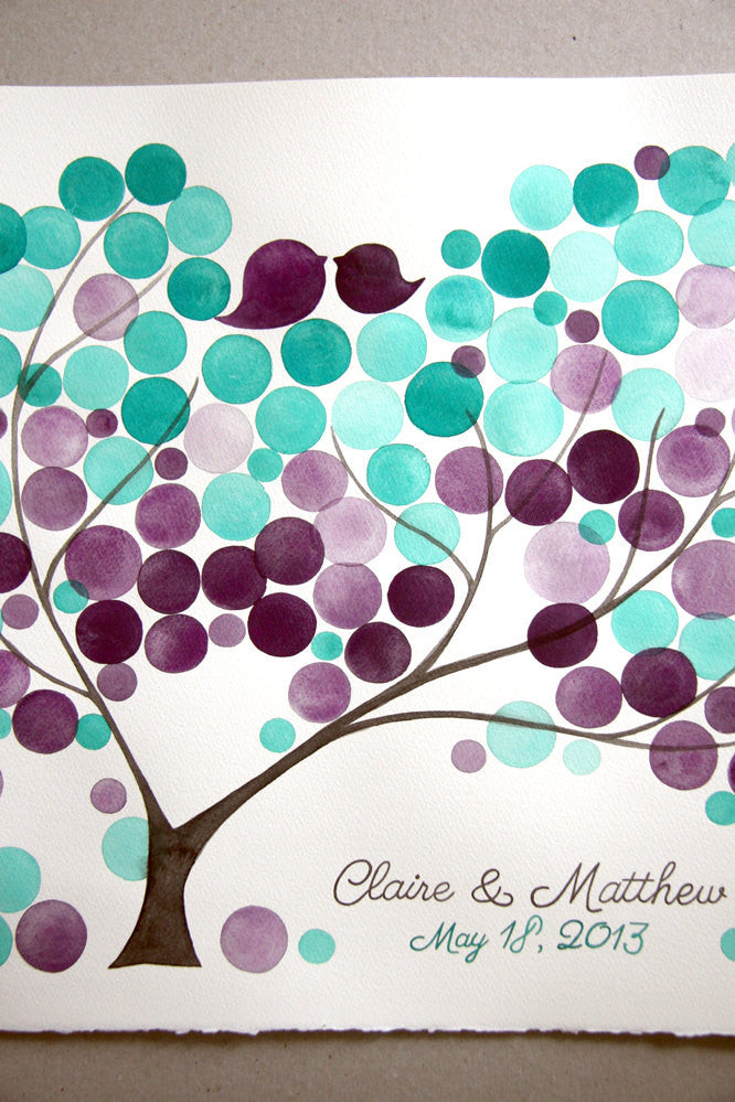Watercolor Wedding Guest Book Alternative - anniversary bridal shower love birds - 100 guest signatures Guest book wedding tree of life