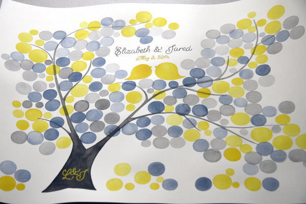 Personalized Wedding Guest Book Tree Alternative - 175 guest signatures Large Custom guestbook, Event Tree, love birds rustic tree of life