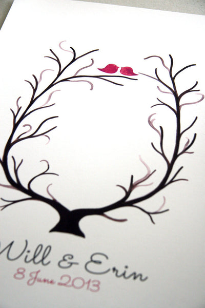 Fingerprint Wedding Tree, Custom Wedding Guest Book alternative - 100 Guest Signatures - thumbprint ready love birds