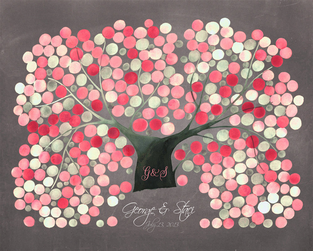 Sakura Wedding Guest Book Alternative CHRYSANTHEMUM CHERRY TREE - 300 Guest Signatures - Modern interactive original Guestbook Art Poster