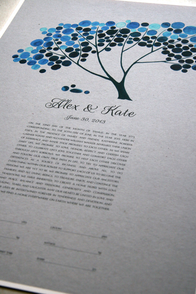 Personalized Modern Ketubah Blue Safari Tree of Life Abstract Design from Watercolor by Elena Berlo