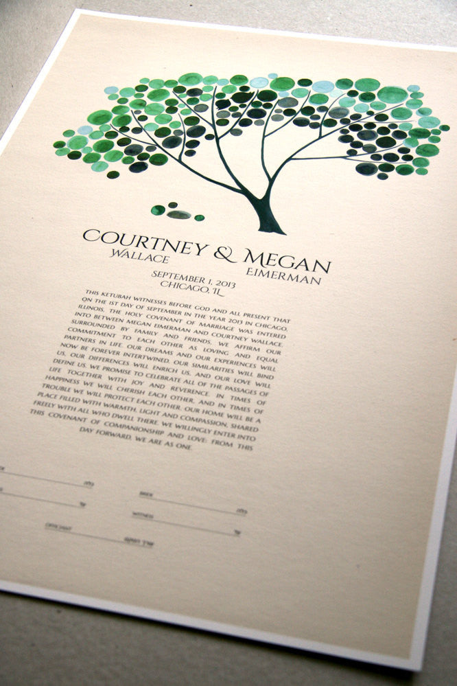 Personalized Ketubah Tree of Life with Love Birds, Modern abstract minimalist Ketubah on Vintage paper background