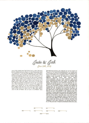 Watercolor Ketubah Calligraphy - TREE SHADE NAP - Tree of Life Under the Chuppah, custom painted  Ketubah