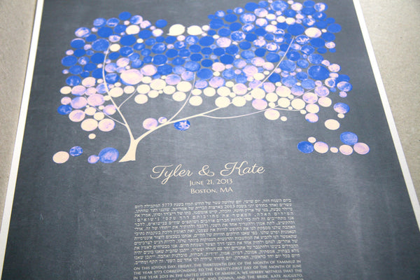 Personalized Ketubah Giclee, Tree of Life and Love Birds Blue Tree Chalkboard Background