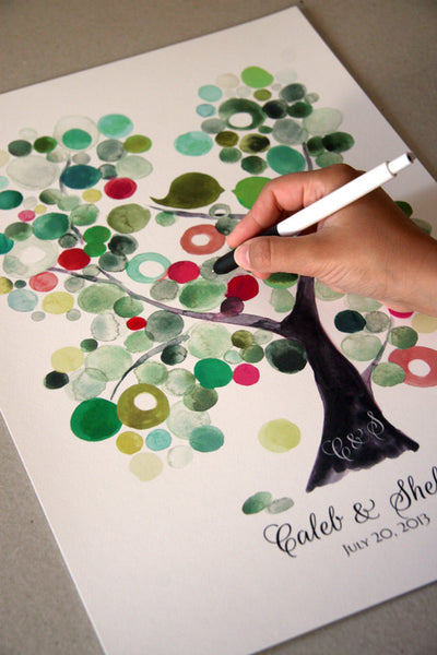 Wedding Guest Book Alternative Modern VELVET ASH TREE Love Birds Watercolor Reproduction - 150 Guest Signatures Art Poster Wedding Guestbook