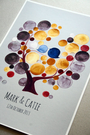 Wedding Guest Book Tree of Life GOLDEN LIME TREE