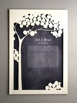 Load image into Gallery viewer, Woodcut Ketubah Tree, Modern Ketubah Print with woodcut layer