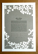 Load image into Gallery viewer, Papercut Ketubah Branches, Modern Ketubah Print with papercut layer
