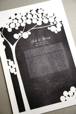 Load image into Gallery viewer, Papercut Ketubah Tree, Modern Ketubah Print with papercut layer