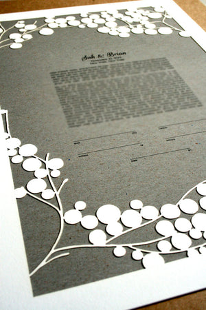 Papercut Ketubah Branches, Modern Ketubah Print with papercut layer