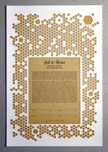 Papercut Ketubah Honeycombs, Modern abstract minimalist Ketubah Print with vintage book background