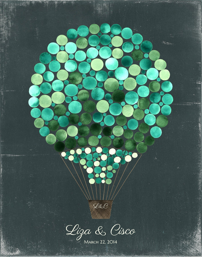 Guest Book Alternative Print, Hot Air Balloon - 100 Guest Signatures - Signature letterpress background Modern original Guestbook