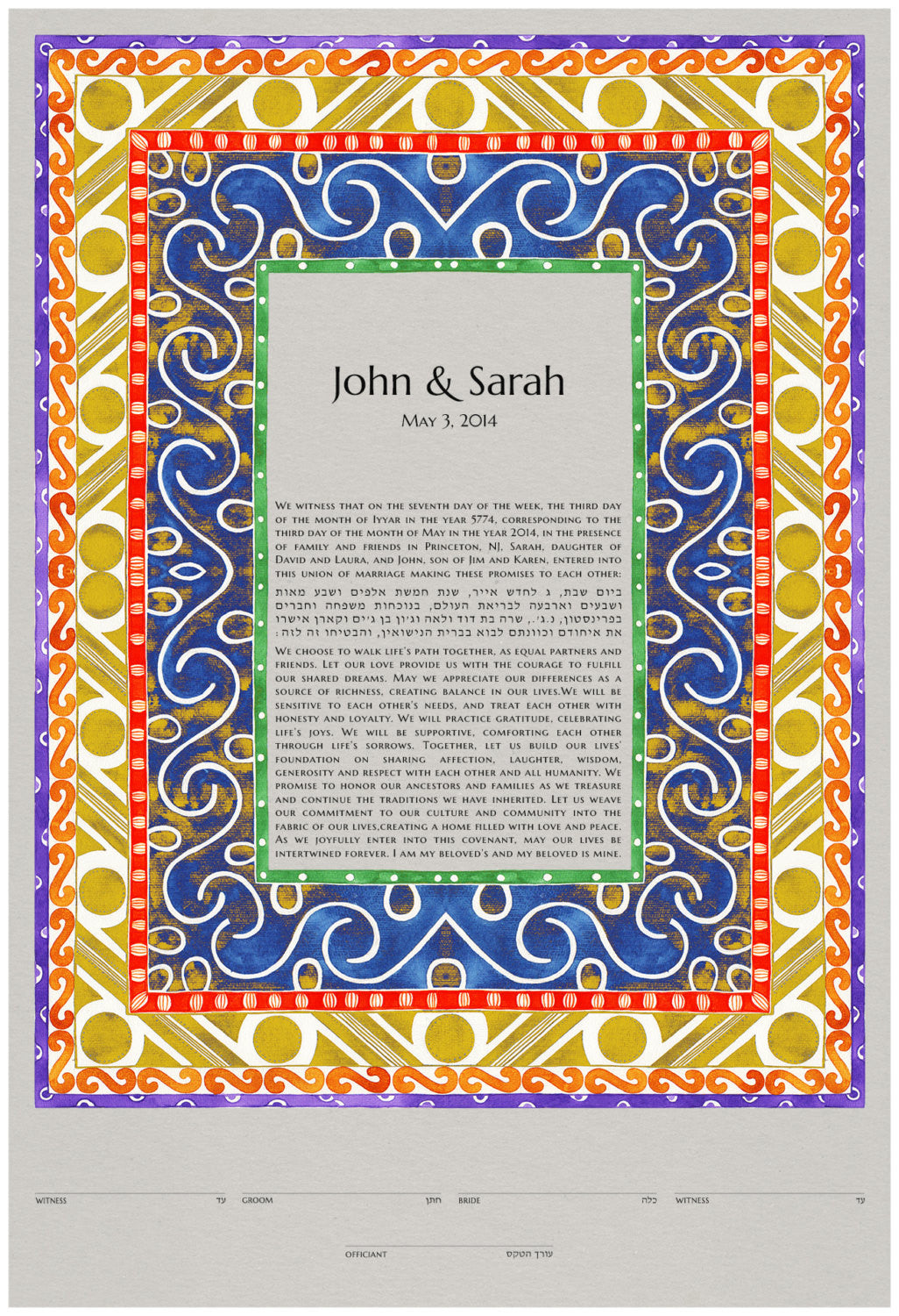 Ketubah print - Cucuteni Patterns