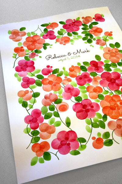 Custom Wedding Guest Book Flowers Alternative - 200 guest signatures Large Wedding guestbook, Event Tree Guest book, flower bouquet clusters