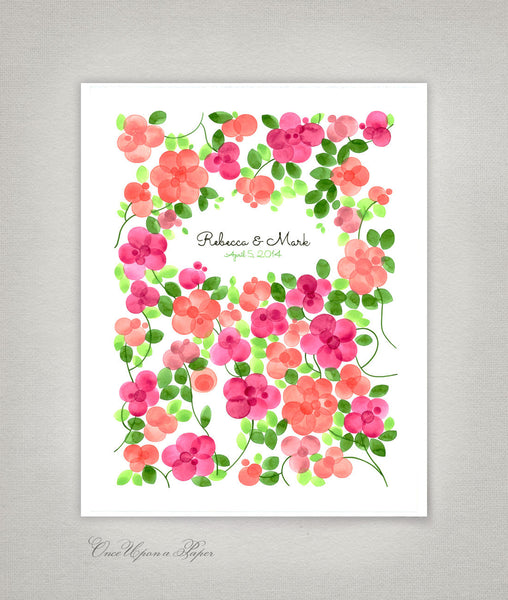 Rustic Wedding Guest Book Print, FLOWER GARDEN DAHLIAS- 200 Guest Signatures - Spots traditional white background Modern Guestbook