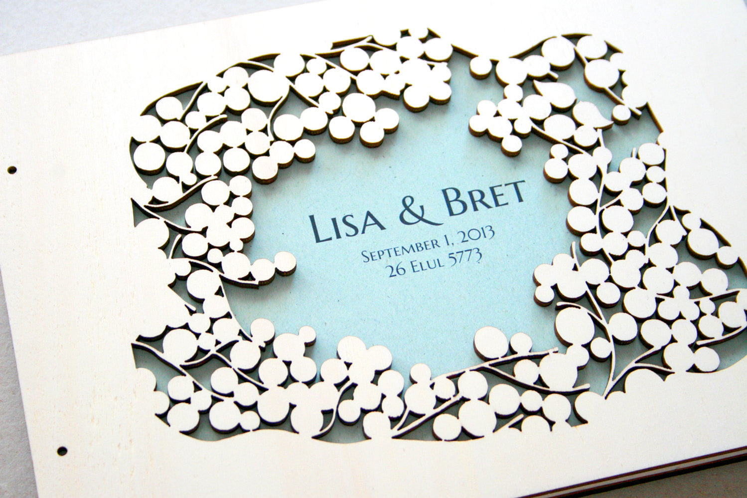 Woodcut Wedding Guest Book Album Branches with Love Birds, Modern minimalist anniversary guestbook album with woodcut covers