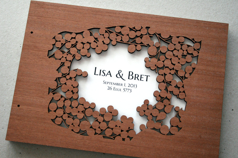 Custom Wedding Guest Book Album Branches with Love Birds, Modern minimalist guestbook album with woodcut covers