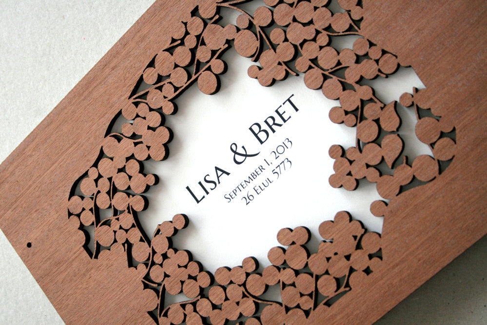 Custom Wedding Guest Book Album Branches with Love Birds, abstract minimalist anniversary guestbook album with woodcut covers