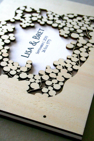 Custom Wedding Guest Book Album Branches with Love Birds, Modern abstract minimalist guestbook album with woodcut covers