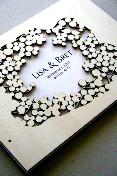 Custom Wedding Guest Book Album Branches with Love Birds, Modern abstract anniversary guestbook album with woodcut covers