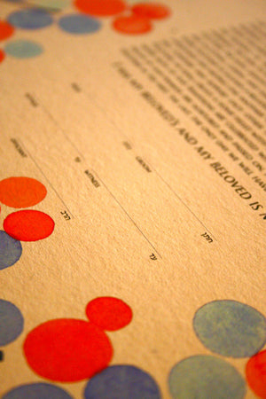Personalized Modern Ketubah - Painted Branches with Love Birds