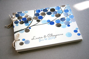 Custom Wedding Guest Book Album with Tree Branch, Modern minimalist guestbook album with watercolor painted hardcovers