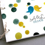 Load image into Gallery viewer, Custom Wedding Guest Book Album with Love Birds, Modern minimalist guestbook album with watercolor painted hardcovers