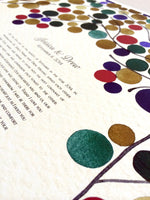 Load image into Gallery viewer, Custom Modern Ketubah art Print - Branches with Love Birds