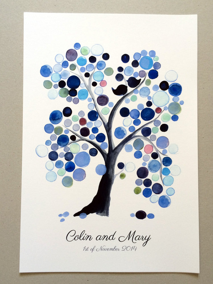 Watercolor Wedding Guest Book Tree Alternative WEEPING WILLOW TREE - 125 Guest Signatures - wedding guest book sign Love Birds art print