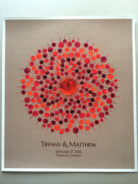 Custom Wedding Guestbook  - Ball Ray mid century modern inspired - 200 Guest Signatures Guest book alternative,  Guest Signature art Print