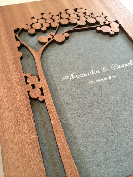 Custom Woodcut Wedding Guest Book Album Branches with Love Birds, Modern abstract minimalist anniversary guestbook with woodcut covers