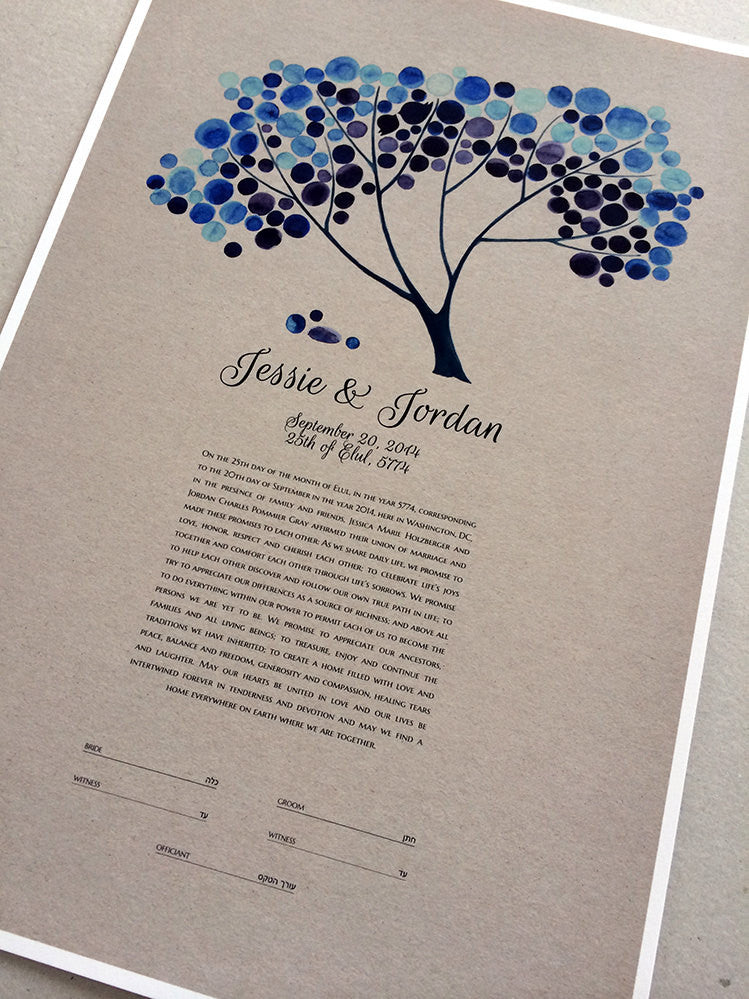Modern Wedding Ketubah, Tree of Life Blue abstract minimalist painting reproduction Ketubah marriage contract