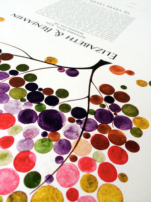 Modern Wedding Ketubah Tree of Life Burst