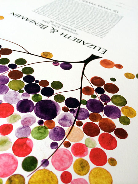 Modern Wedding Ketubah, Tree of Life Burst of colors abstract minimalist painting reproduction Ketubah marriage contract